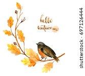 watercolor autumn nature... | Shutterstock . vector #697126444