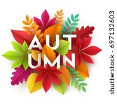 autumn banner background with...   Shutterstock .eps vector #697132603