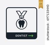 dentist  icon. teeth medal... | Shutterstock .eps vector #697133440
