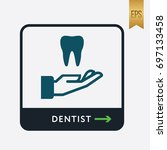 teeth and hand icon. medicine... | Shutterstock .eps vector #697133458