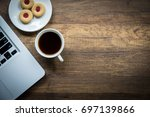 top view home office table with ... | Shutterstock . vector #697139866