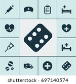 medicine icons set. collection... | Shutterstock .eps vector #697140574