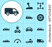 automobile icons set.... | Shutterstock .eps vector #697141810