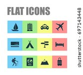 exploration icons set.... | Shutterstock .eps vector #697143448