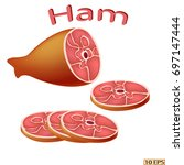 ham. smoked meat icon.... | Shutterstock .eps vector #697147444