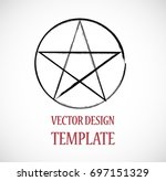 pagan symbol in grunge  old... | Shutterstock .eps vector #697151329