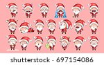 set kit collection sticker... | Shutterstock .eps vector #697154086