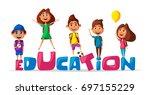 back to school. children on the ... | Shutterstock .eps vector #697155229