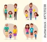 happy family. cartoon vector... | Shutterstock .eps vector #697155238