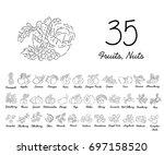 set of hand drawn fruits...   Shutterstock .eps vector #697158520