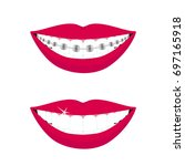 beautiful smiling mouth with... | Shutterstock .eps vector #697165918