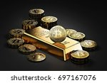 big stack of bitcoins and gold...   Shutterstock . vector #697167076