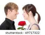 young couple and rose. isolated ... | Shutterstock . vector #69717322