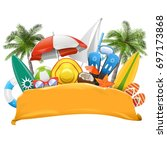 vector beach yellow banner | Shutterstock .eps vector #697173868