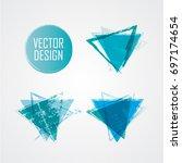 blue triangle retro shape.... | Shutterstock .eps vector #697174654