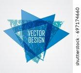blue triangle retro shape.... | Shutterstock .eps vector #697174660
