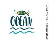 ocean. illustration fish.... | Shutterstock .eps vector #697175974