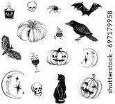 hallo ween 31 october sticker | Shutterstock .eps vector #697179958
