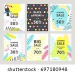 summer sale banners set. vector ... | Shutterstock .eps vector #697180948