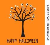 happy halloween greeting card.... | Shutterstock .eps vector #697181596