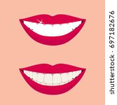 beautiful smiling mouth with... | Shutterstock .eps vector #697182676