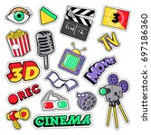 cinema film television patches  ... | Shutterstock .eps vector #697186360