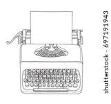 vintage  typewriter portable... | Shutterstock .eps vector #697191943