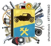 vector old automobile repair... | Shutterstock .eps vector #697198660