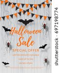 vector flyer for halloween sale.... | Shutterstock .eps vector #697198774