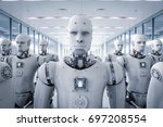 3d rendering robot army or... | Shutterstock . vector #697208554