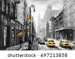 oil painting on canvas, street view of New York, woman under an umbrella, yellow taxi,  modern Artwork,  American city, illustration New York