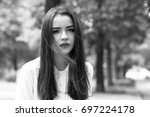 black and white portrait of a...   Shutterstock . vector #697224178