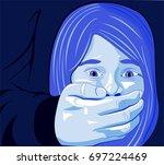little girl forced to silence ...   Shutterstock .eps vector #697224469