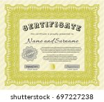 yellow certificate diploma or... | Shutterstock .eps vector #697227238