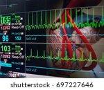 heart and vital sign ekg... | Shutterstock . vector #697227646
