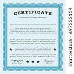 light blue diploma or... | Shutterstock .eps vector #697233154