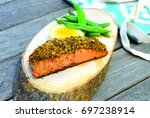 salmon grill served with wooden ... | Shutterstock . vector #697238914