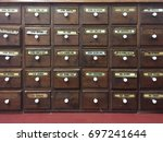 Small photo of close up old apothecary cabinet
