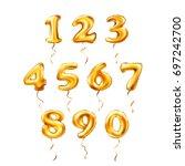 vector golden number 1  2  3  4 ... | Shutterstock .eps vector #697242700