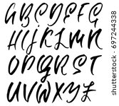 hand drawn dry brush font.... | Shutterstock .eps vector #697244338