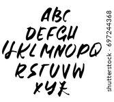hand drawn dry brush font.... | Shutterstock .eps vector #697244368