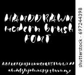 hand drawn dry brush font.... | Shutterstock .eps vector #697244398