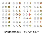 set vector line and color icons ...