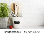 kitchen still life on a white... | Shutterstock . vector #697246270