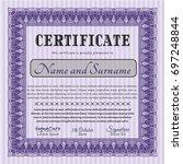 violet sample certificate.... | Shutterstock .eps vector #697248844