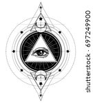 blackwork tattoo flash. eye of... | Shutterstock .eps vector #697249900