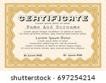 orange awesome certificate... | Shutterstock .eps vector #697254214
