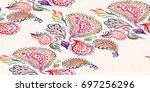 paisley watercolor ethnic... | Shutterstock . vector #697256296