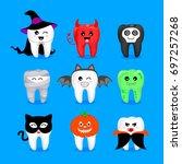 set of halloween tooth... | Shutterstock .eps vector #697257268