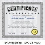 grey diploma. retro design.... | Shutterstock .eps vector #697257400